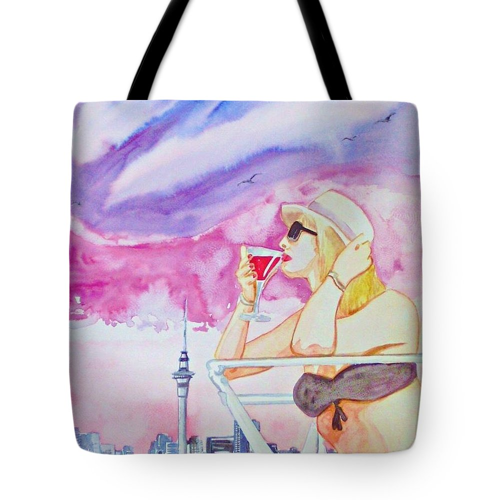 Auckland Woman Swimsuit Drink Travel Cityscape New Zeeland Tote Bag featuring the painting Auckland 2011 by Ken Higgins