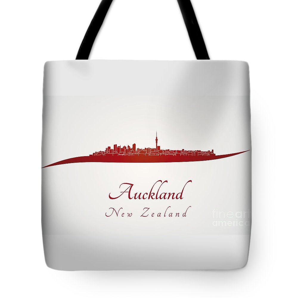 Auckland Skyline Tote Bag featuring the digital art Auckland Skyline In Red by Pablo Romero