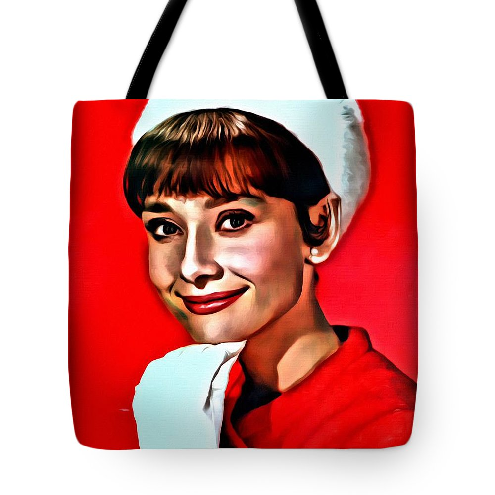 Celebrities Tote Bag featuring the painting Audrey by Florian Rodarte