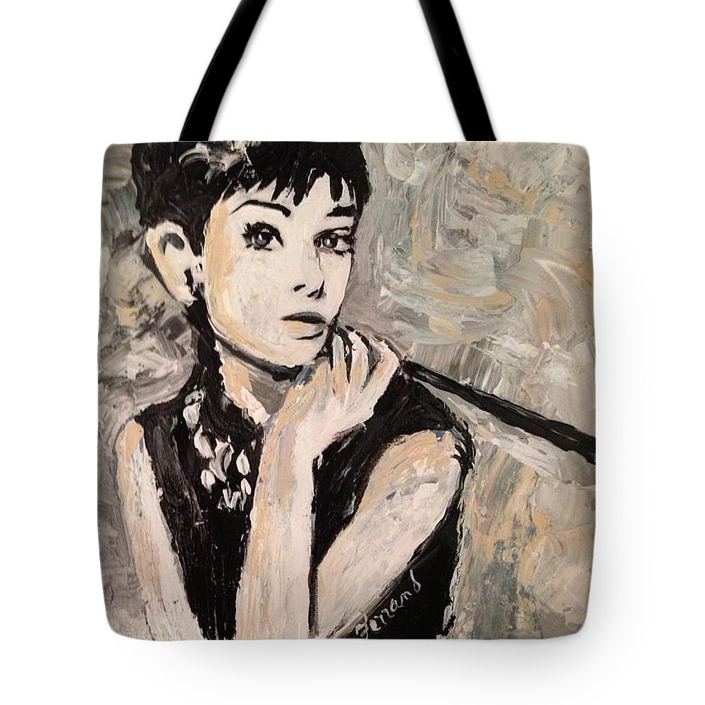Icon Tote Bag featuring the painting Audrey Hepburn by Karen Ferrand Carroll