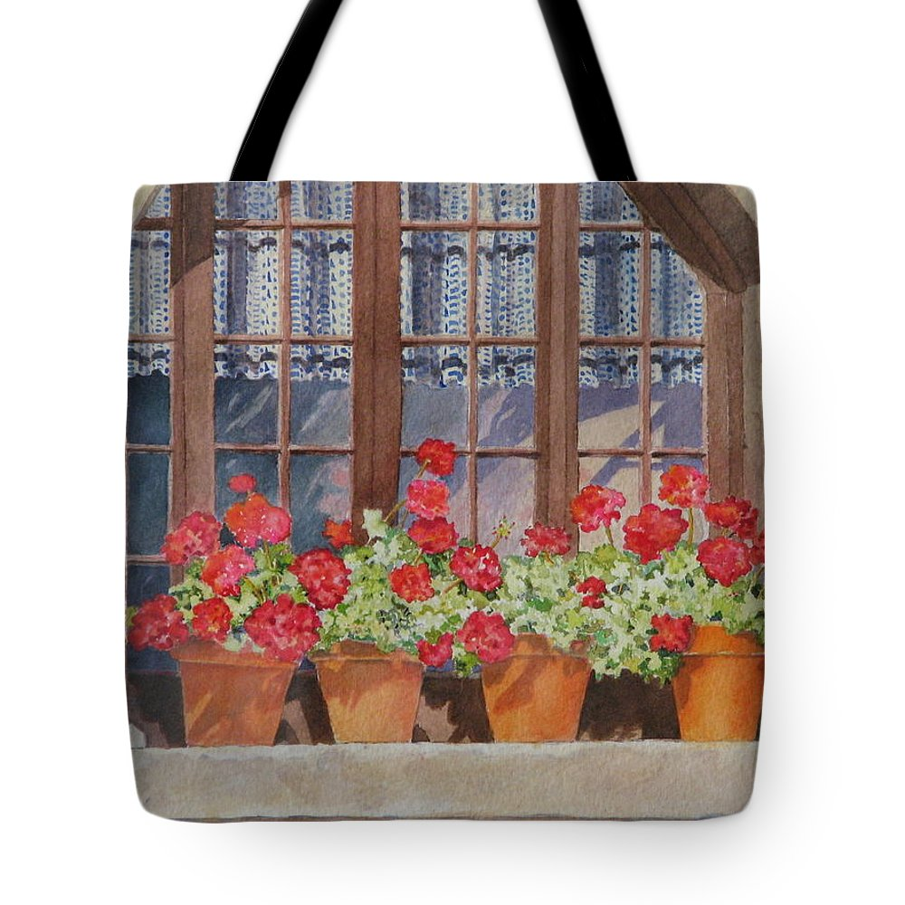 Watercolor Tote Bag featuring the painting August At The Auberge by Mary Ellen Mueller Legault