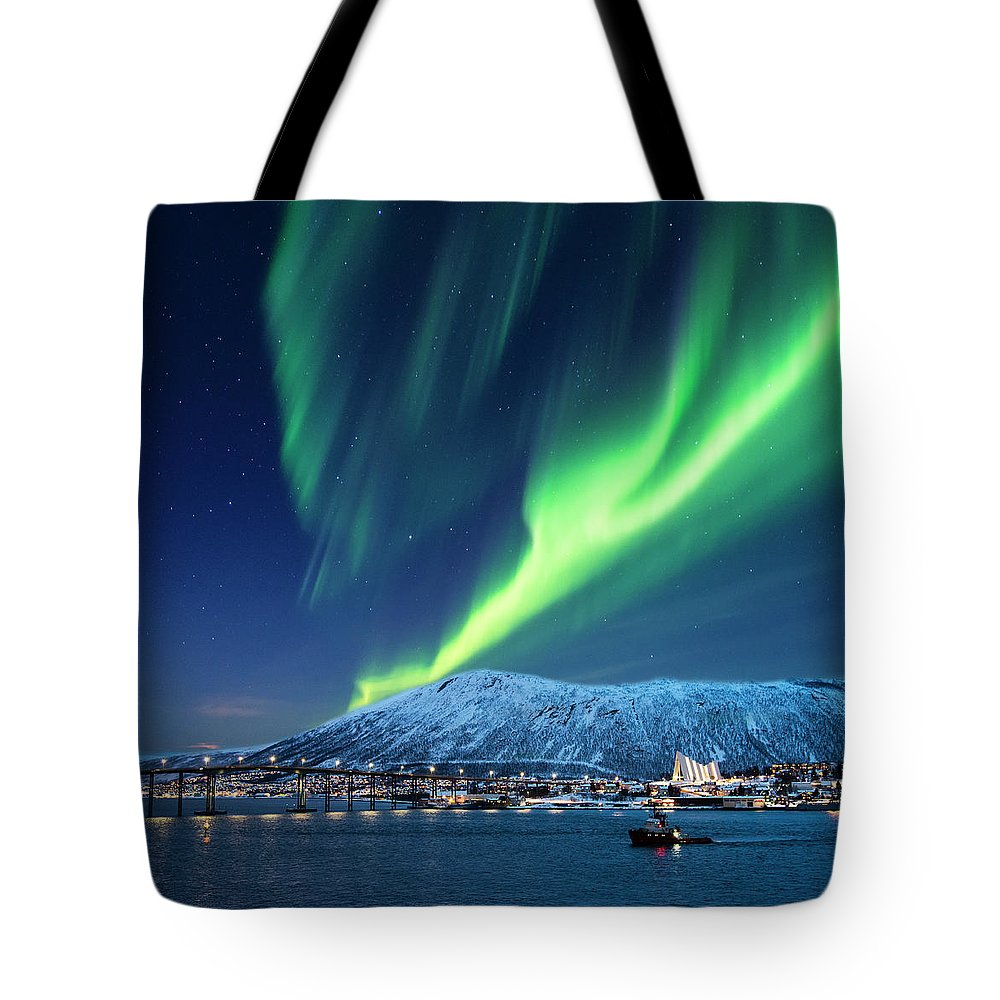 Scenics Tote Bag featuring the photograph Aurora Borealis Over Tromso Port by Mike Hill