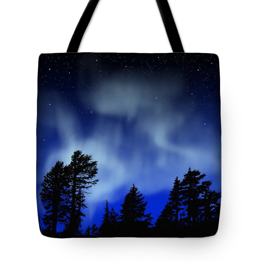 Aurora Borealis Mural Tote Bag featuring the painting Aurora Borealis Wall Mural by Frank Wilson