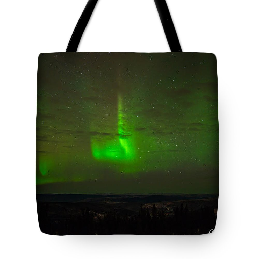 Alaska Tote Bag featuring the photograph Aurora Flare by Joan Wallner