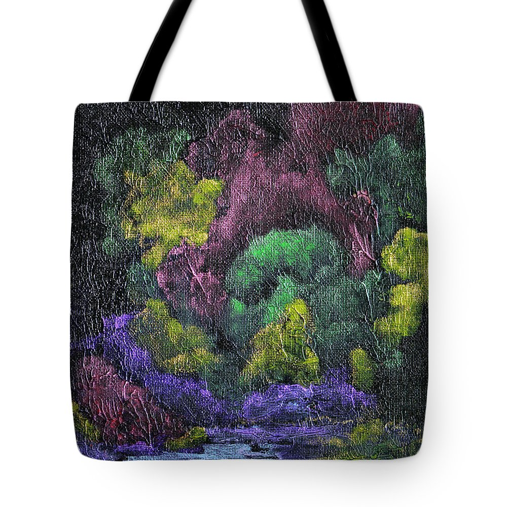 Vibrant Abstract Tote Bag featuring the painting Aurora Reflection by Donna Blackhall