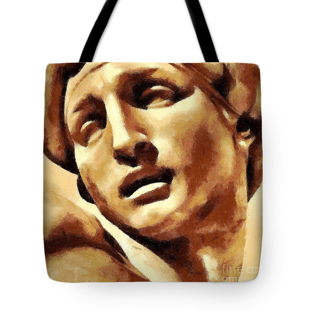 Figure Tote Bag featuring the drawing Aurora's Head by Dragica Micki Fortuna