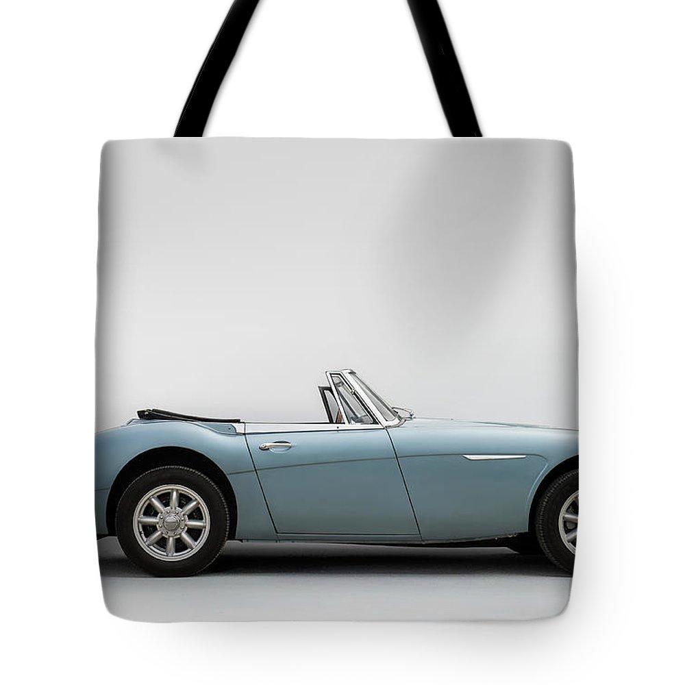 Car Tote Bag featuring the digital art Austin Healey 3000 Mkiii by Douglas Pittman