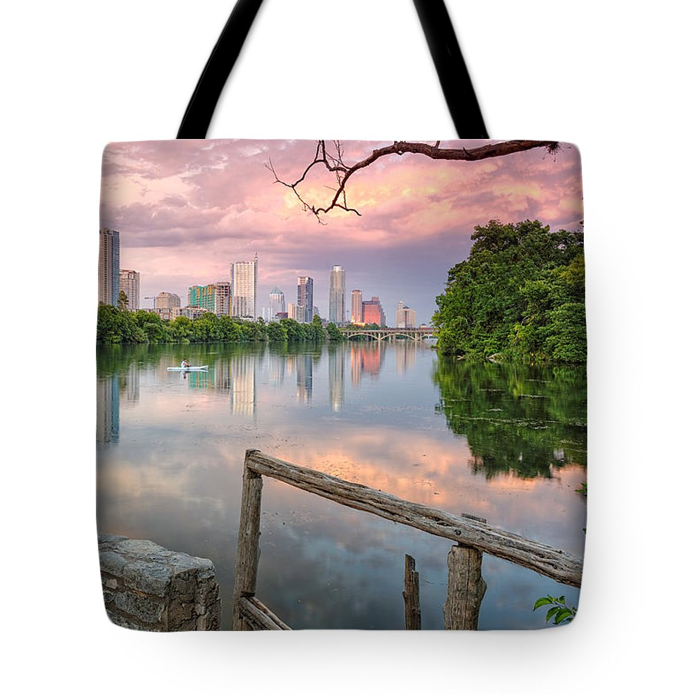 Lou Neff Point Tote Bag featuring the photograph Austin Skyline From Lou Neff Point by Silvio Ligutti