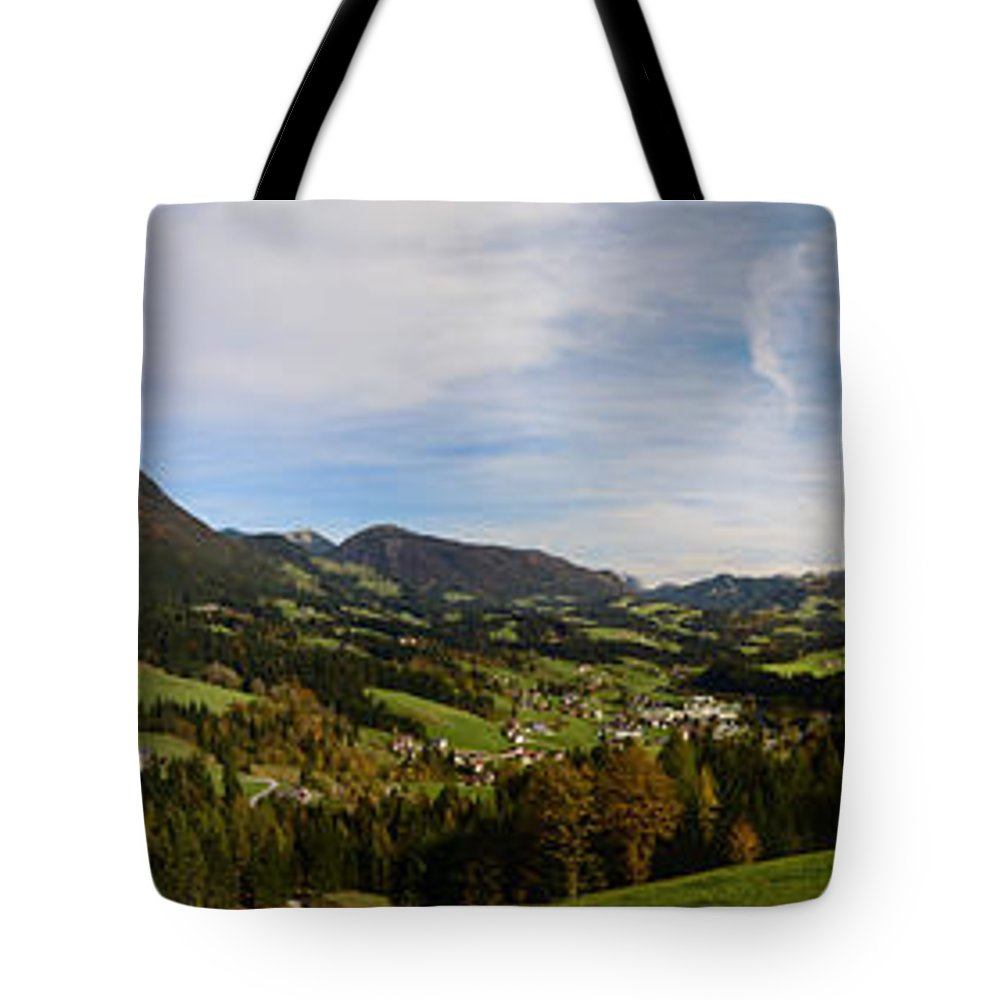 Austria Tote Bag featuring the photograph Austrian Autumn Scenic Panorama 2 by Sabine Jacobs