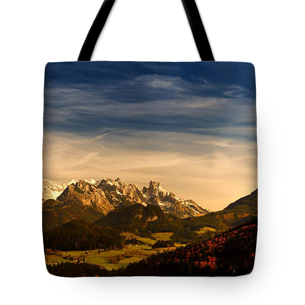 Panorama Tote Bag featuring the photograph Austrian Autumn Scenic Panorama by Sabine Jacobs
