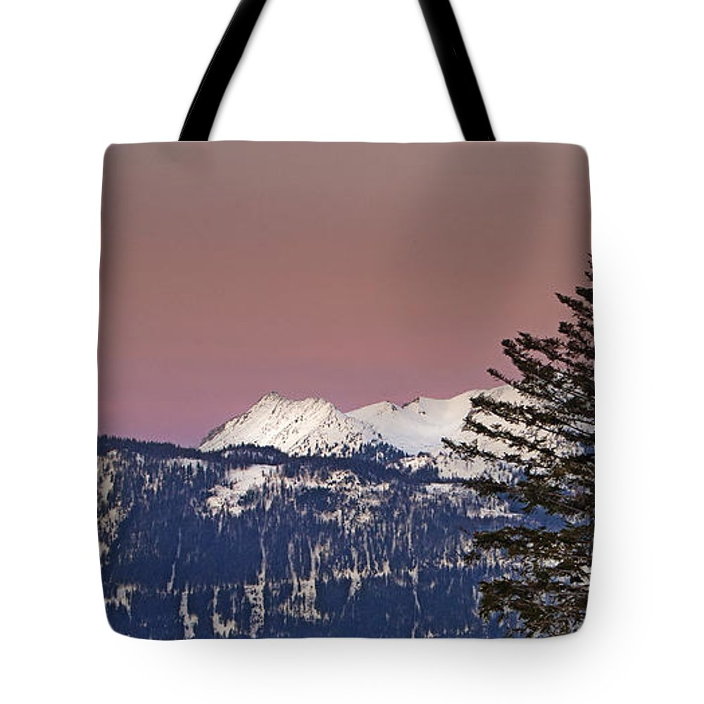 Panorama Tote Bag featuring the photograph Austrian Winter Scenic Panorama by Sabine Jacobs