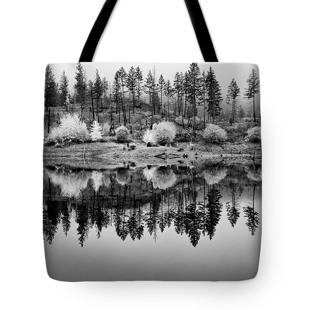 British Columbia Tote Bag featuring the photograph Autumn Reflection Black And White by Allan Van Gasbeck