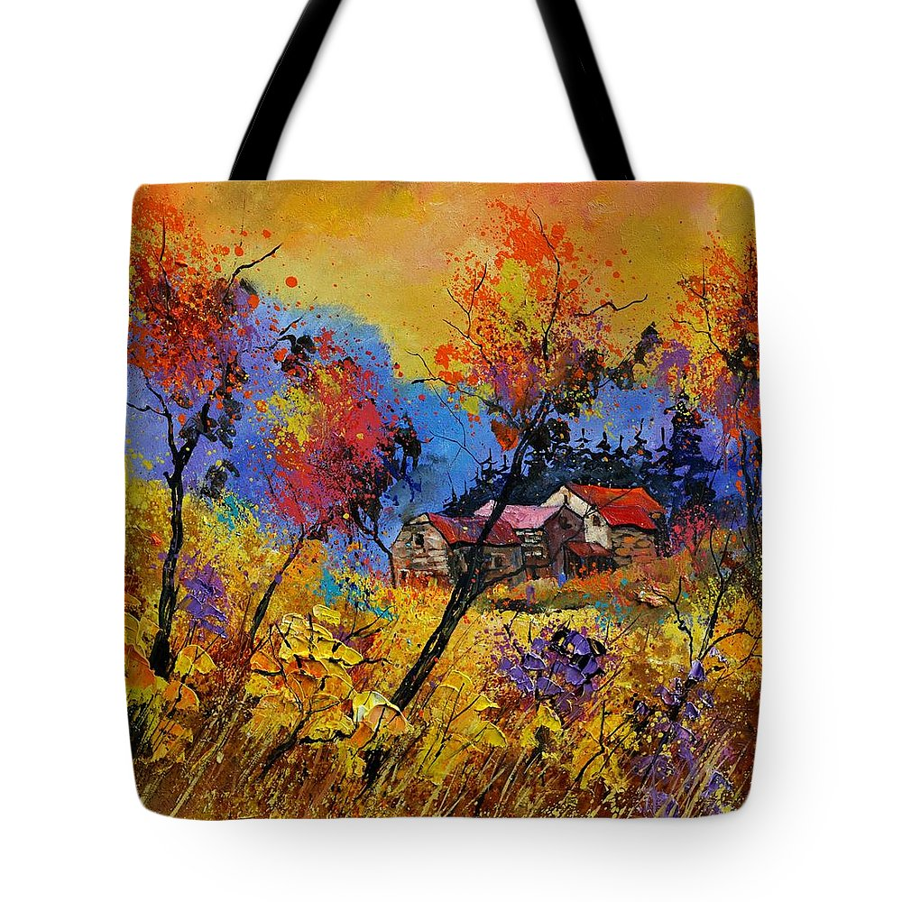 Landscape Tote Bag featuring the painting Autumn 884101 by Pol Ledent