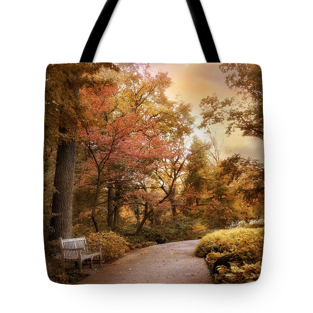 Autumn Trees Tote Bag featuring the photograph Autumn Aesthetic by Jessica Jenney