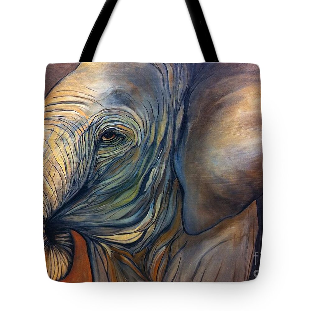 Elephant Tote Bag featuring the painting Autumn by Aimee Vance