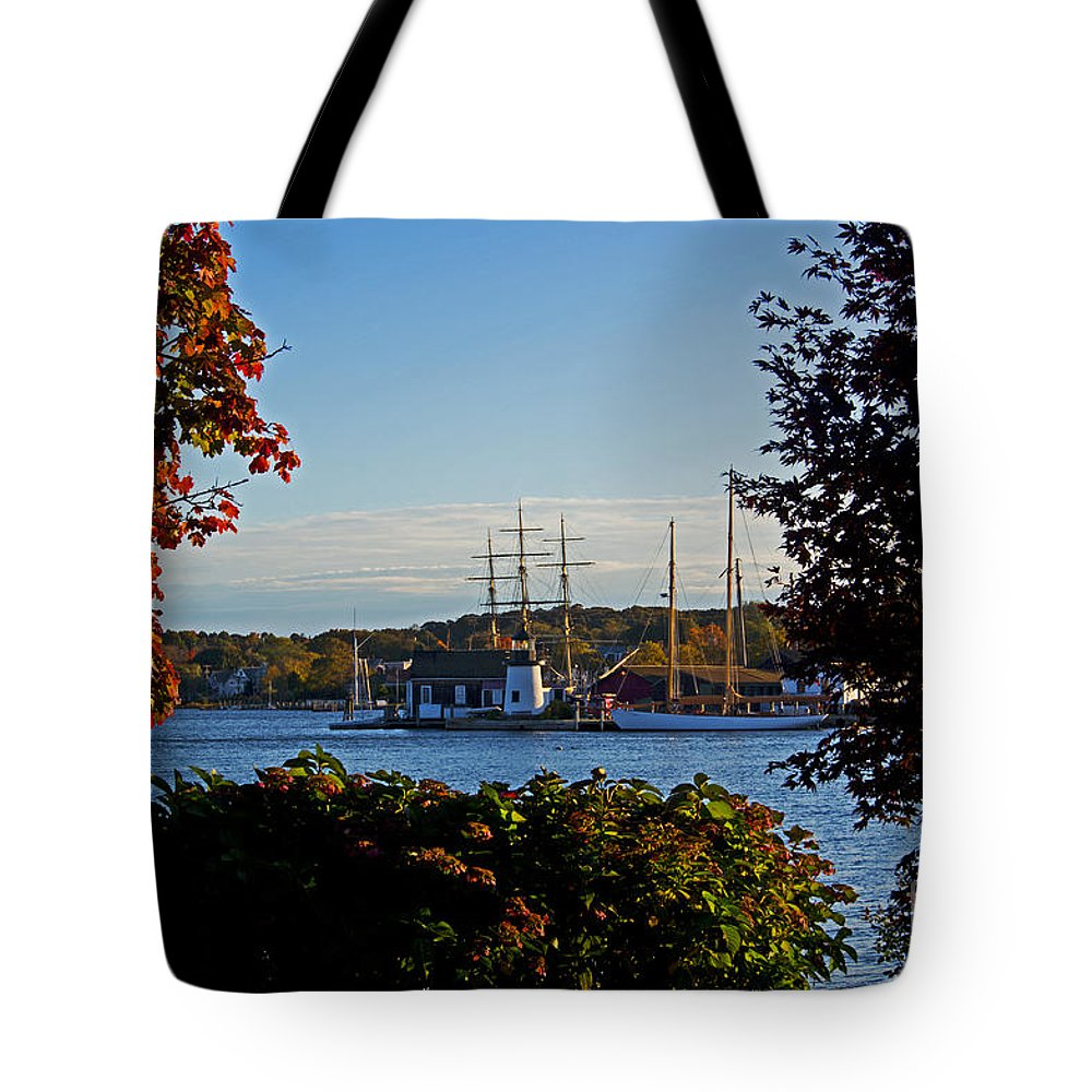 Mystic Tote Bag featuring the photograph Autumn At The Seaport by Joe Geraci