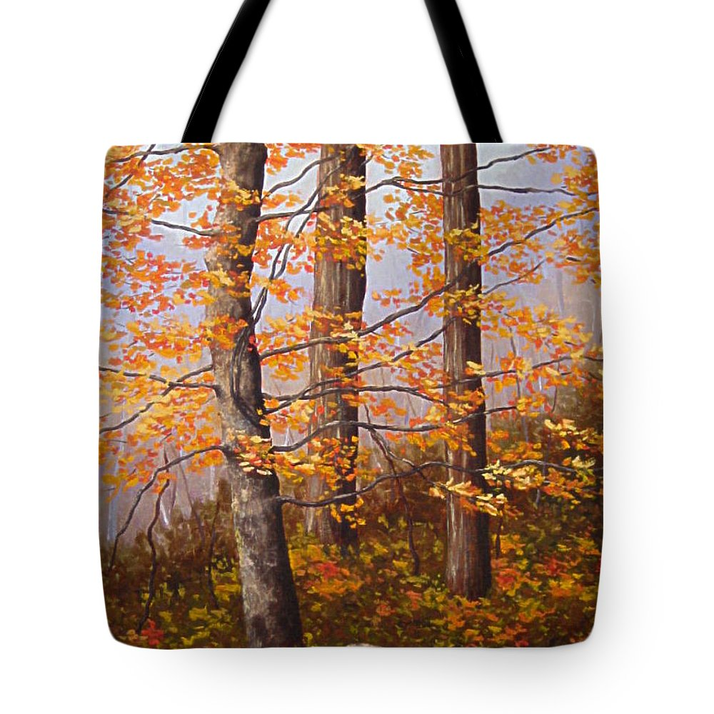 Autumn Tote Bag featuring the painting Autumn At Tishomingo State Park by Darla Brock