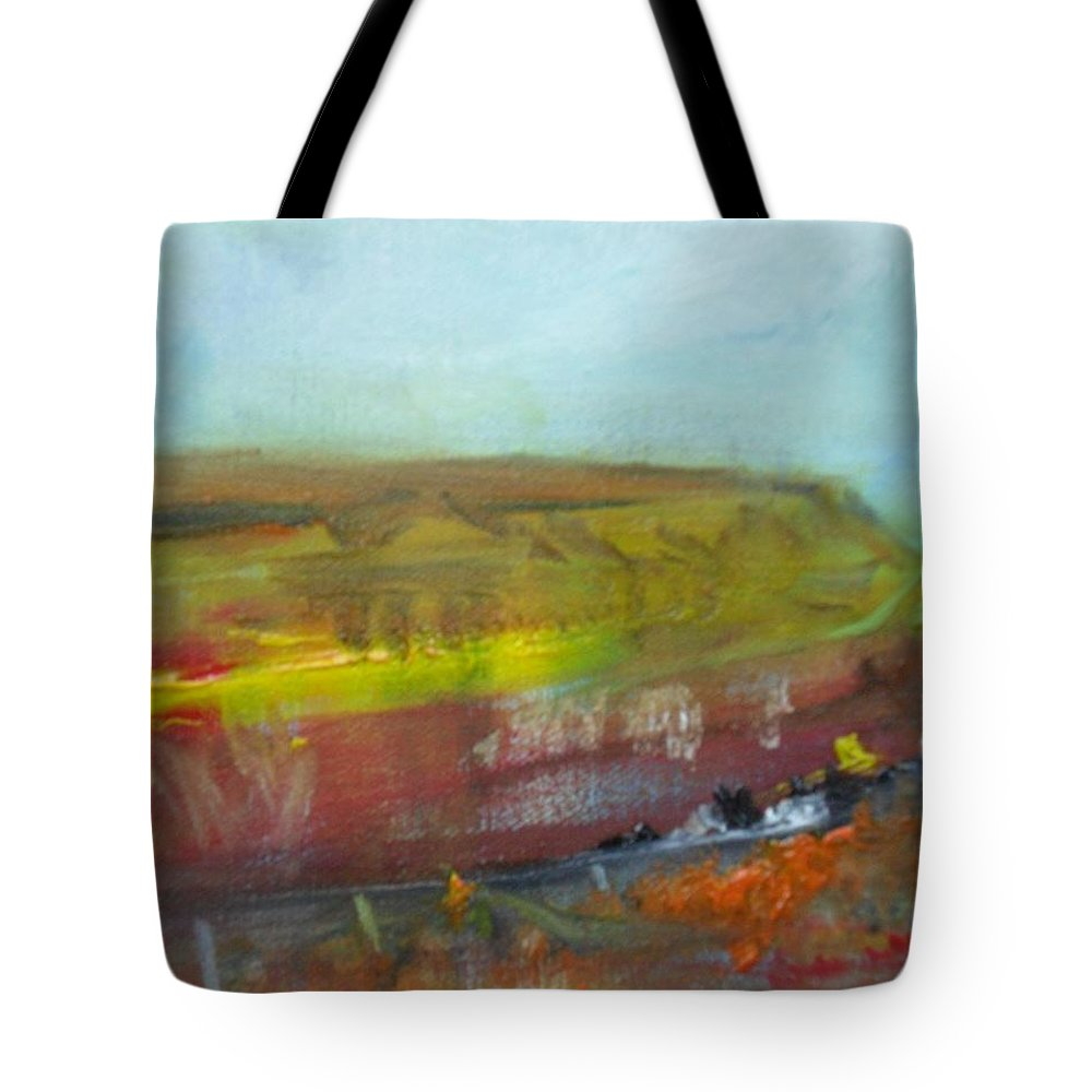 An Abstract Painting Of The Bog Near Ardara Tote Bag featuring the painting Autumn Bog by Mary Feeney