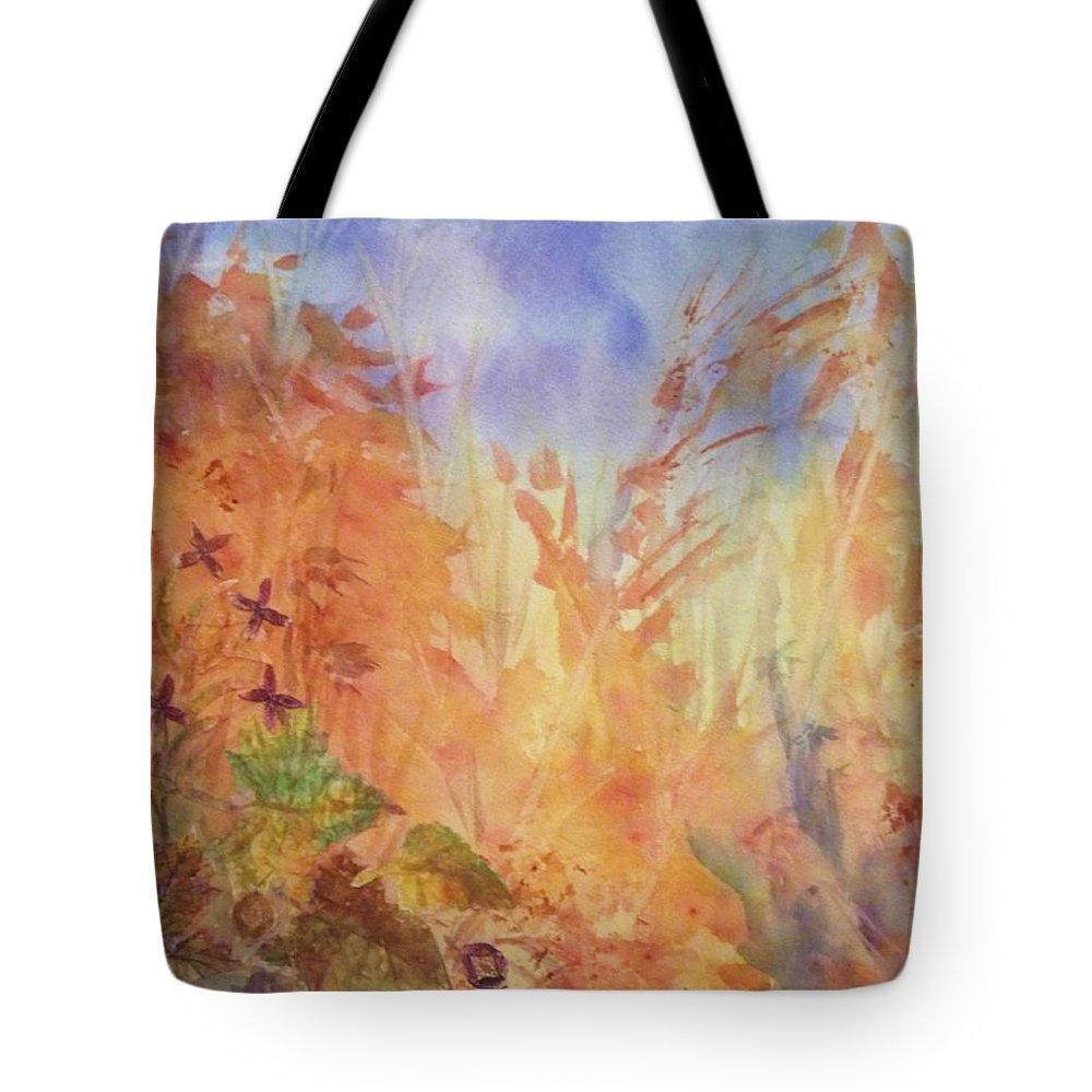 Autumn Tote Bag featuring the painting Autumn Breeze by Ellen Levinson