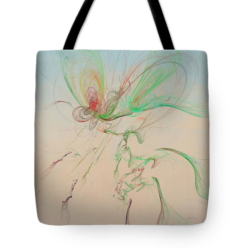 Autumn Butterfly Abstract Tote Bag featuring the digital art Autumn Butterfly Abstract by Angela Stanton