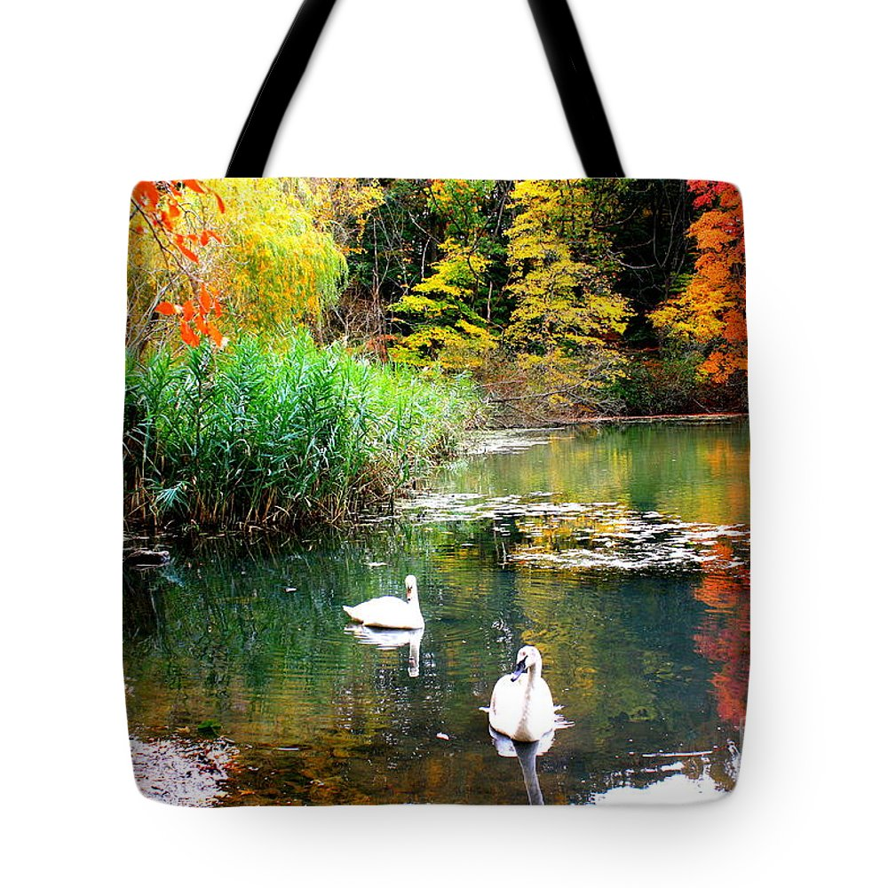 Autumn Tote Bag featuring the photograph Autumn By The Swan Lake by Dora Sofia Caputo Photographic Design and Fine Art