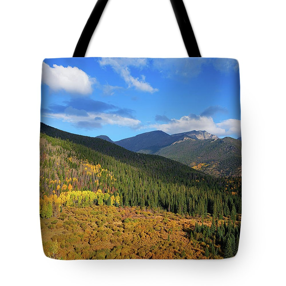 Scenics Tote Bag featuring the photograph Autumn Color In Colorado Rockies by A L Christensen