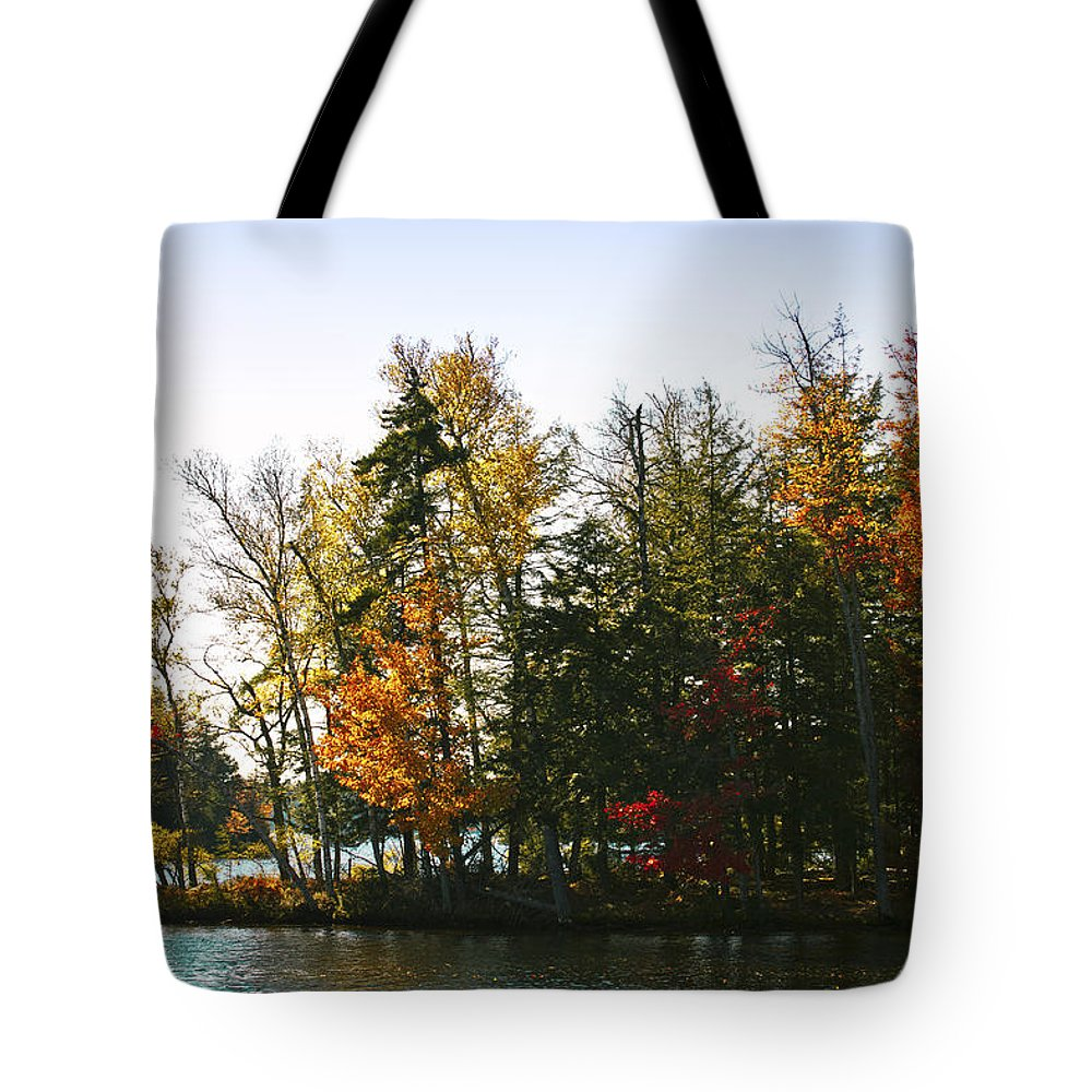 Adirondack's Tote Bag featuring the photograph Autumn Color On The Fulton Chain Of Lakes by David Patterson