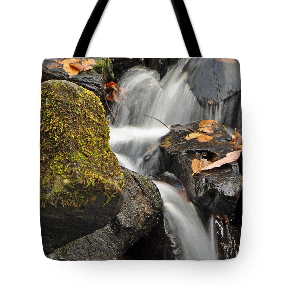 Crabtree Falls Tote Bag featuring the photograph Autumn Colors On Big Crabtree Creek by Bruce Gourley