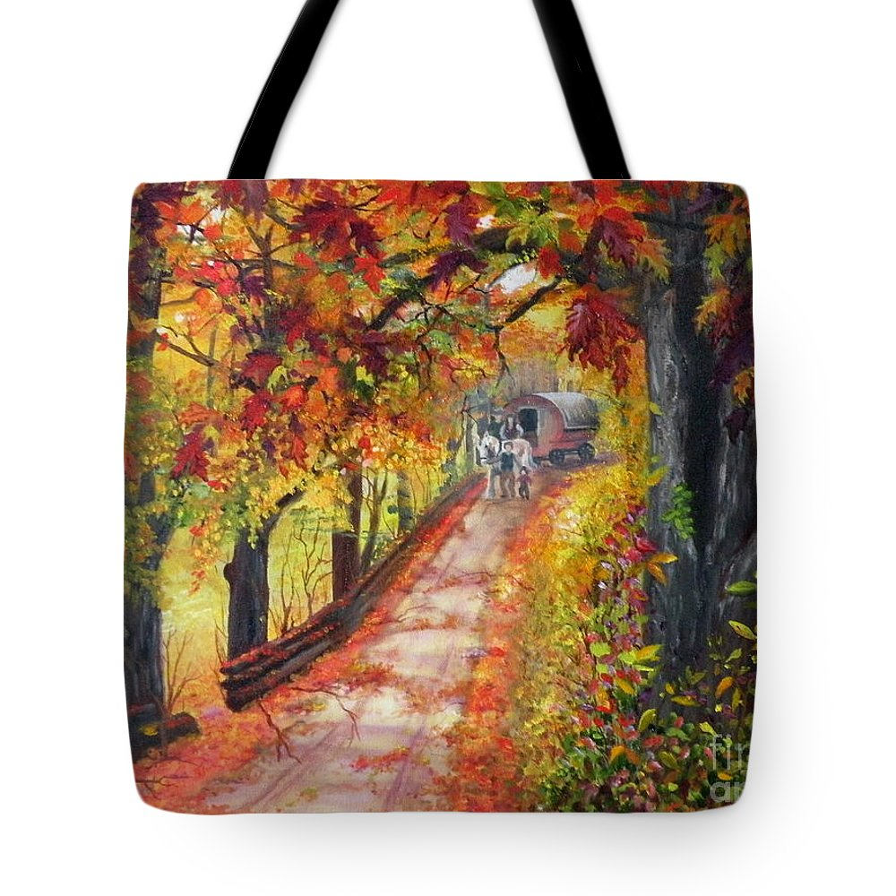 Scenery Tote Bag featuring the painting Autumn Dreams by Lora Duguay