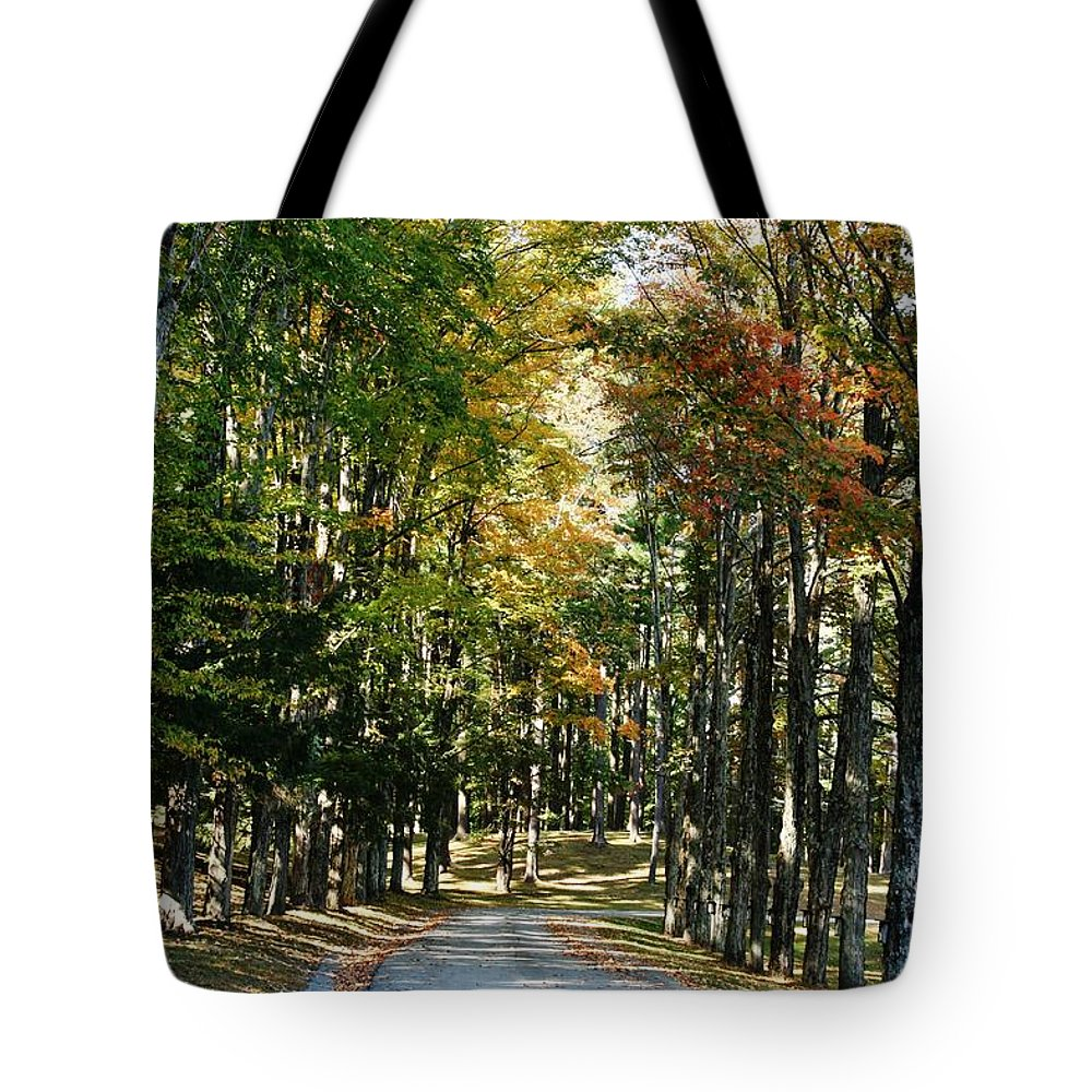 Barbara Bardzik Tote Bag featuring the photograph Autumn Drive by Barbara Bardzik