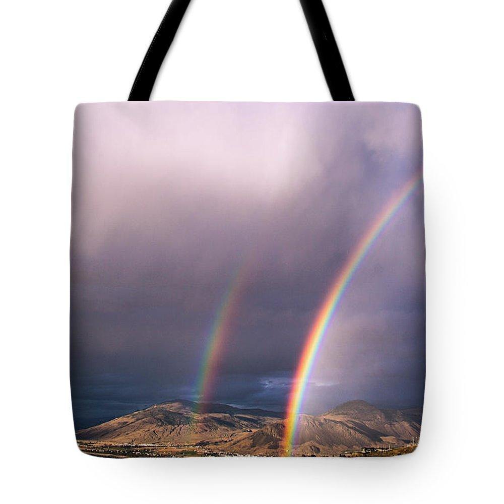 Rainbow Tote Bag featuring the photograph Autumn Equinox by Kathy Bassett