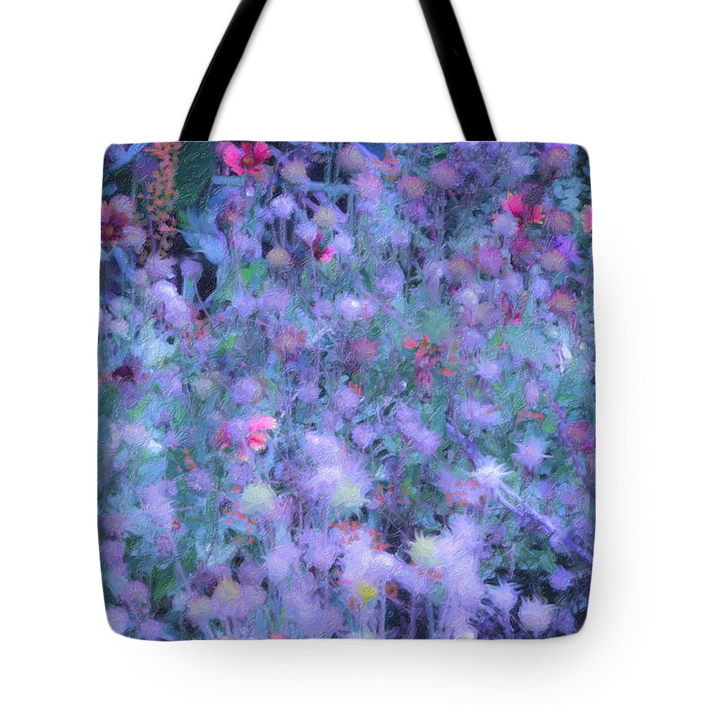 Blue Tote Bag featuring the photograph Autumn Flowers In Blue by Angela Stanton