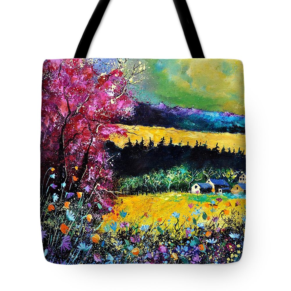 Landscape Tote Bag featuring the painting Autumn Flowers by Pol Ledent