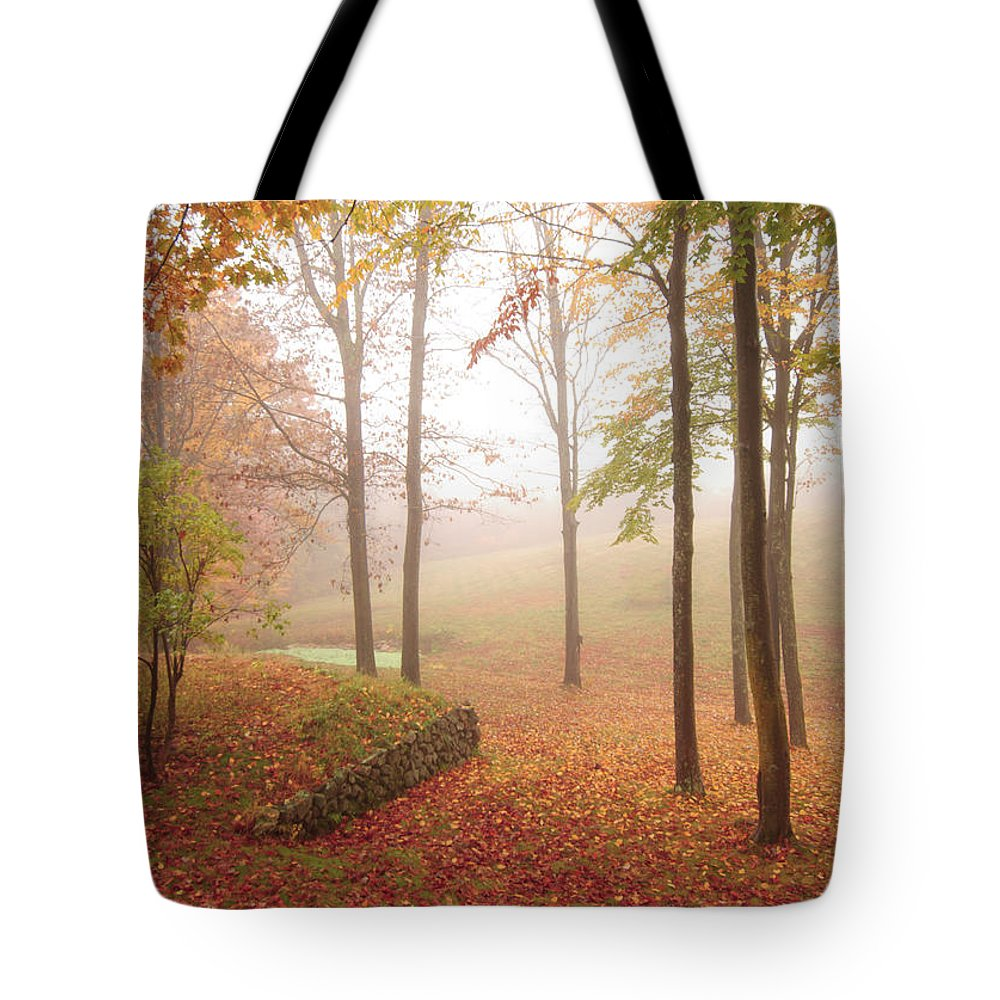 Fall Foliage Tote Bag featuring the photograph Autumn Fog by Marie Fortin
