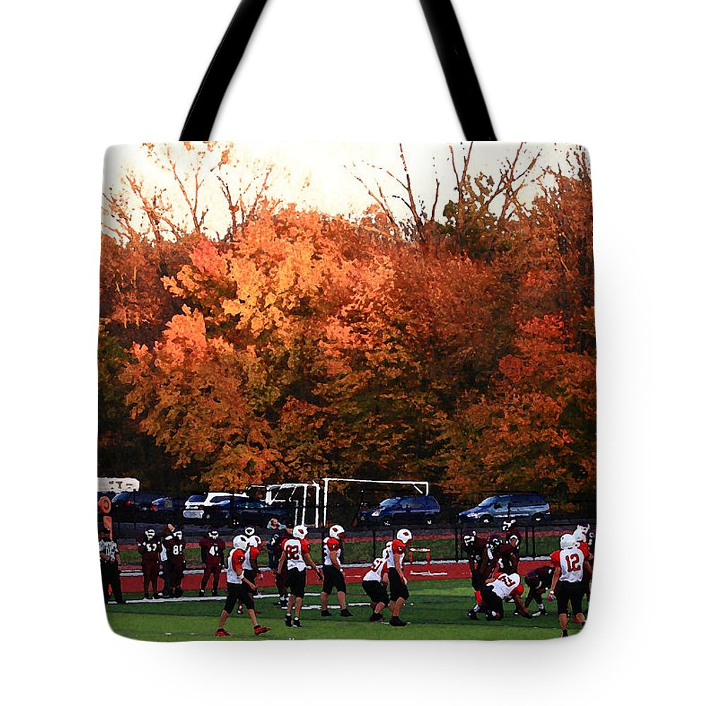 America Tote Bag featuring the photograph Autumn Football With Dry Brush Effect by Frank Romeo