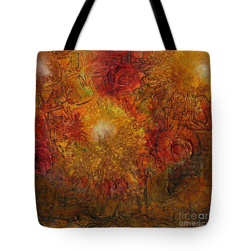 Abstract Mixed Media Tote Bag featuring the painting Autumn Glow - Wip by Angela L Walker