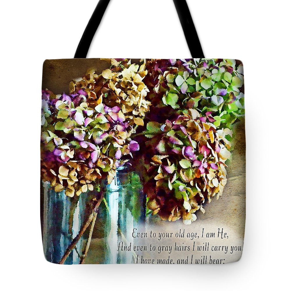 Nature Tote Bag featuring the photograph Autumn Hydrangeas Photoart With Verse by Debbie Portwood