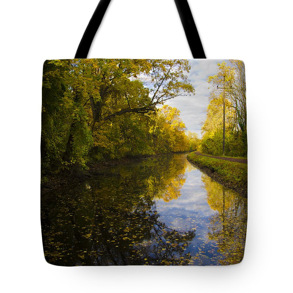 Autumn Tote Bag featuring the photograph Autumn In Morrisville Pa Along The Delaware Canal by Bill Cannon