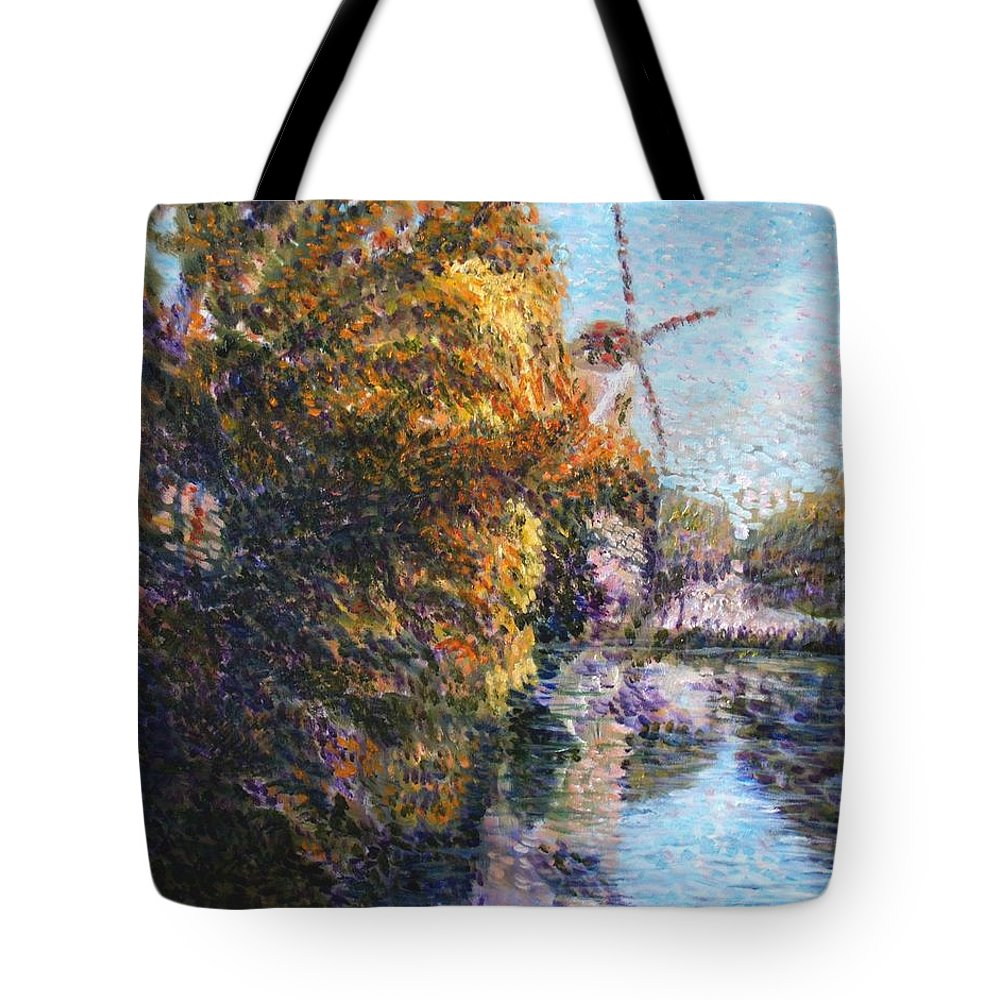 Autumn Tote Bag featuring the painting Autumn In Schiedam by Elena Sokolova