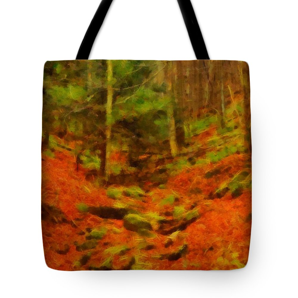 Sproul State Forest Tote Bag featuring the painting Autumn In Sproul State Forest by Dan Sproul