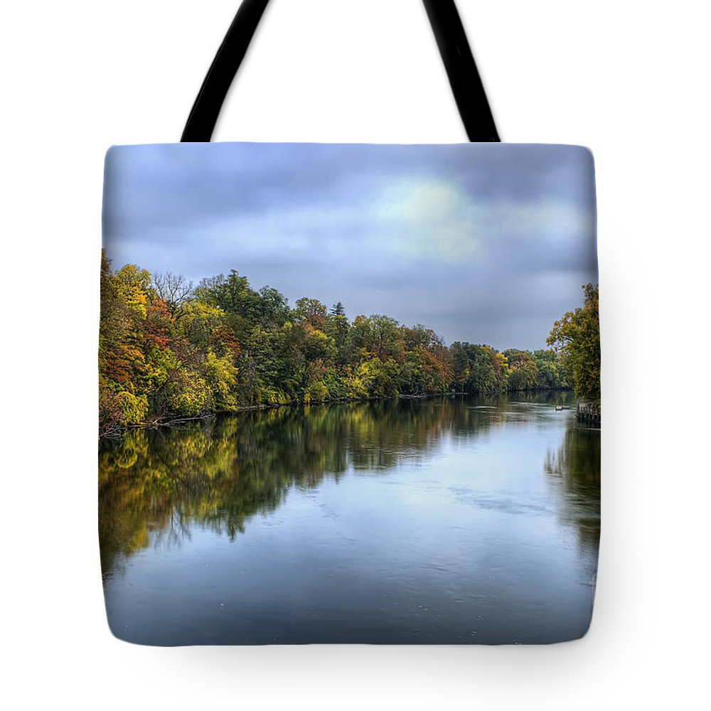 Fall Tote Bag featuring the photograph Autumn In The River by Scott Wood