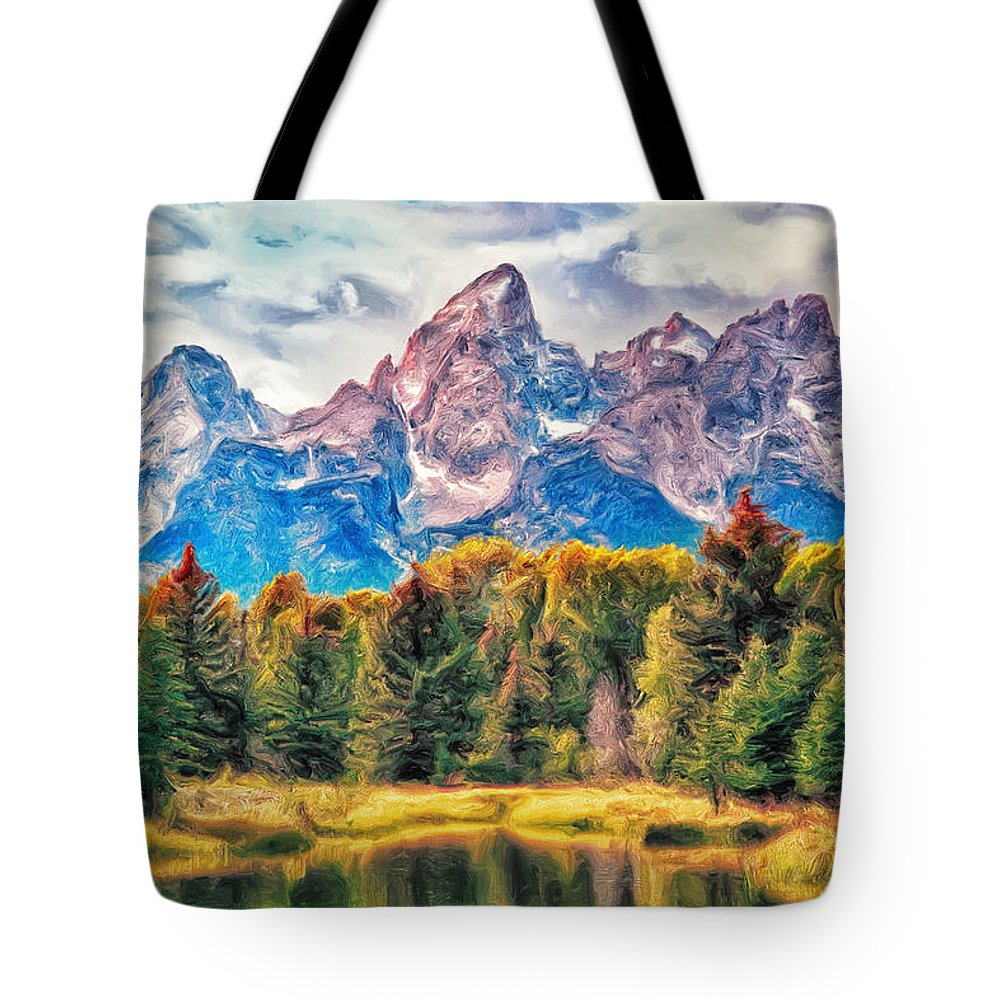 Autumn Tote Bag featuring the painting Autumn In The Tetons by Dominic Piperata