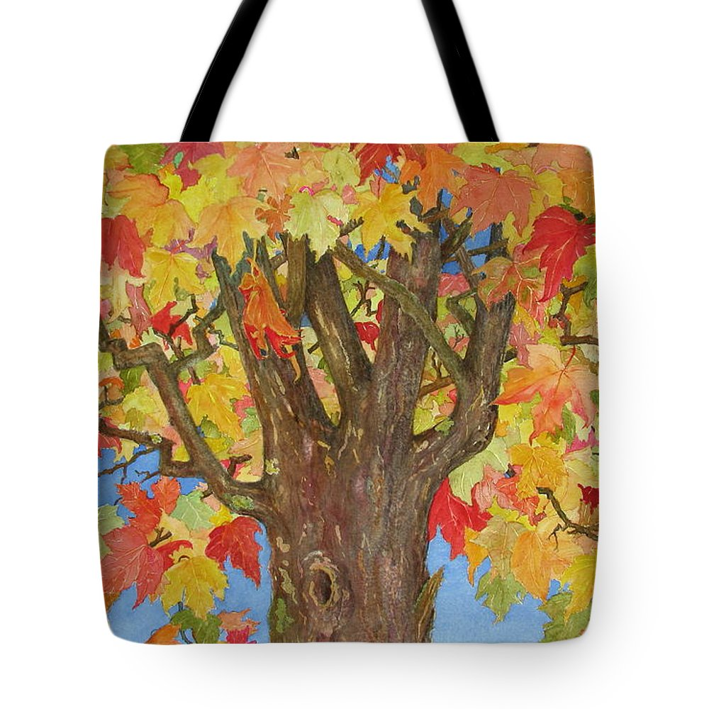 Leaves Tote Bag featuring the painting Autumn Leaves 1 by Mary Ellen Mueller Legault