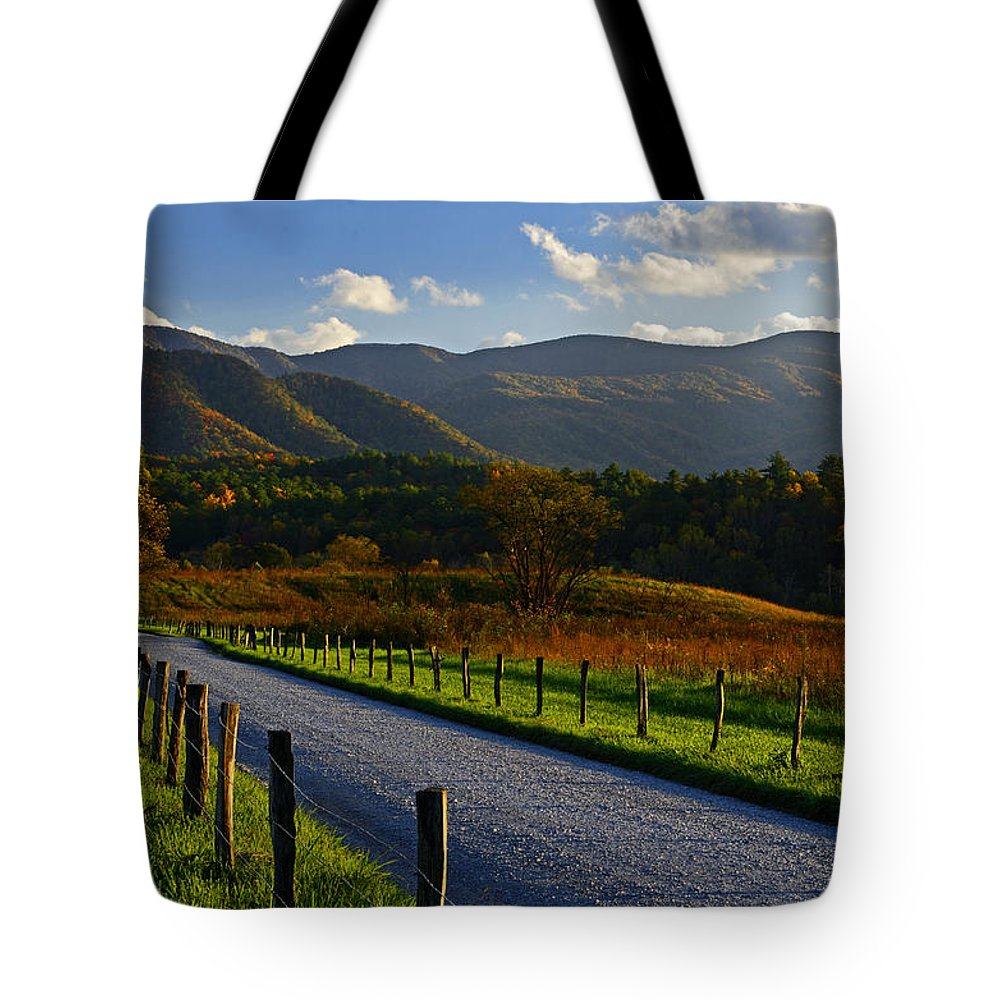 Smokies Tote Bag featuring the photograph Autumn Light On Hyatt Lane - Great Smoky Mountains by Eric Albright