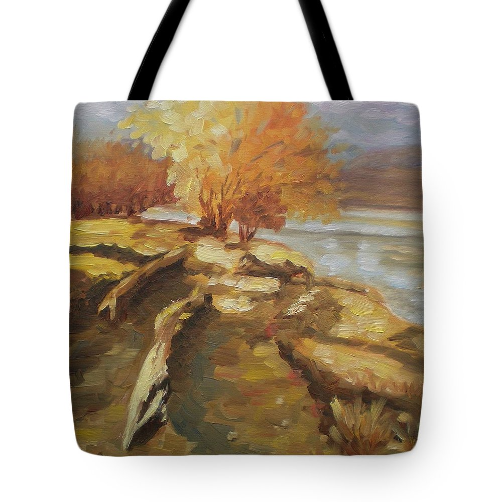 Landscape Tote Bag featuring the painting Autumn Light2 by Elena Sokolova