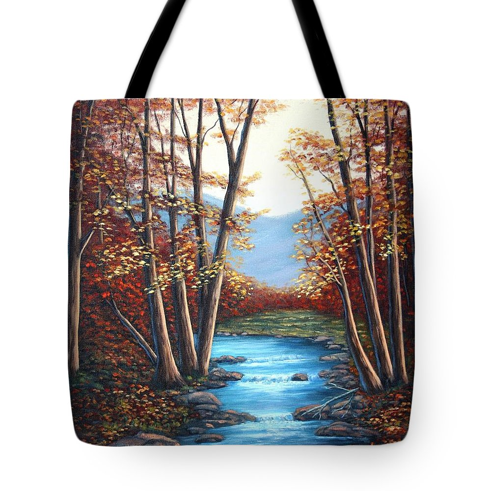 Autumn Tote Bag featuring the painting Autumn Mountain Stream by Fran Brooks