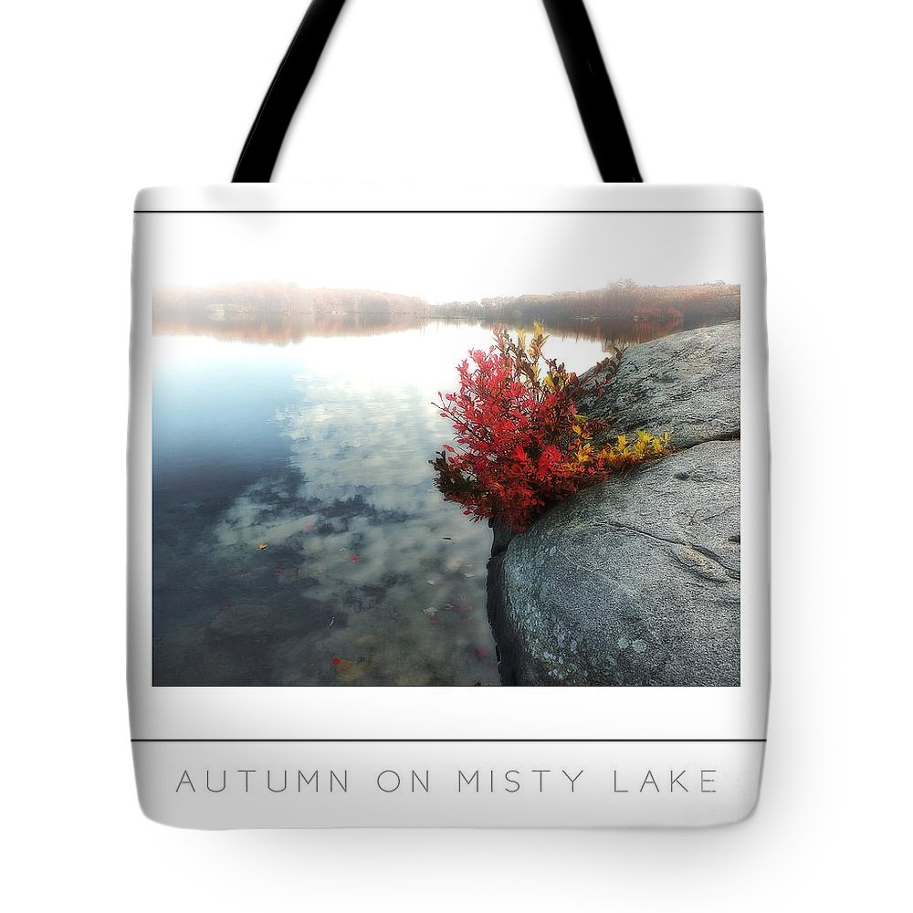 Tote Bag featuring the photograph Autumn On Misty Lake Poster by Mike Nellums