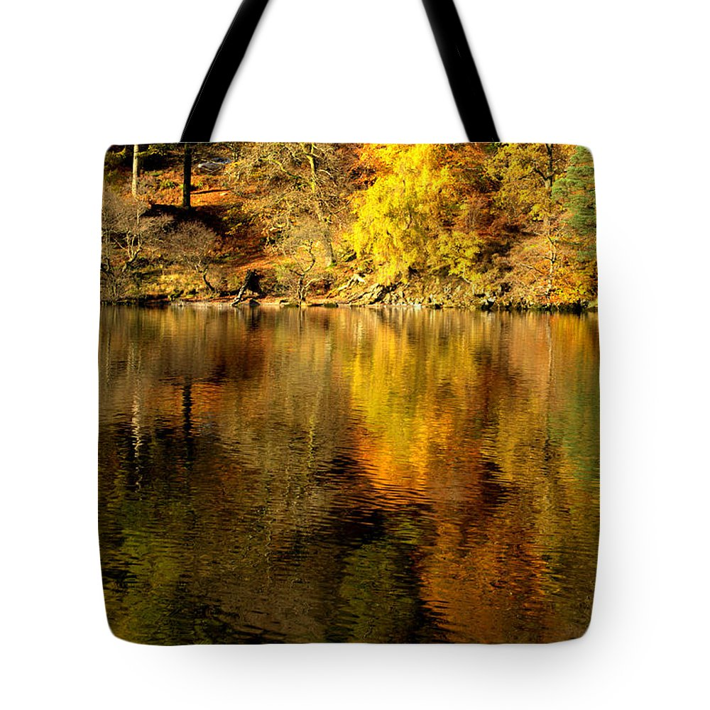 Golds..greens.brown Tote Bag featuring the photograph Autumn On Ullswater by Linsey Williams
