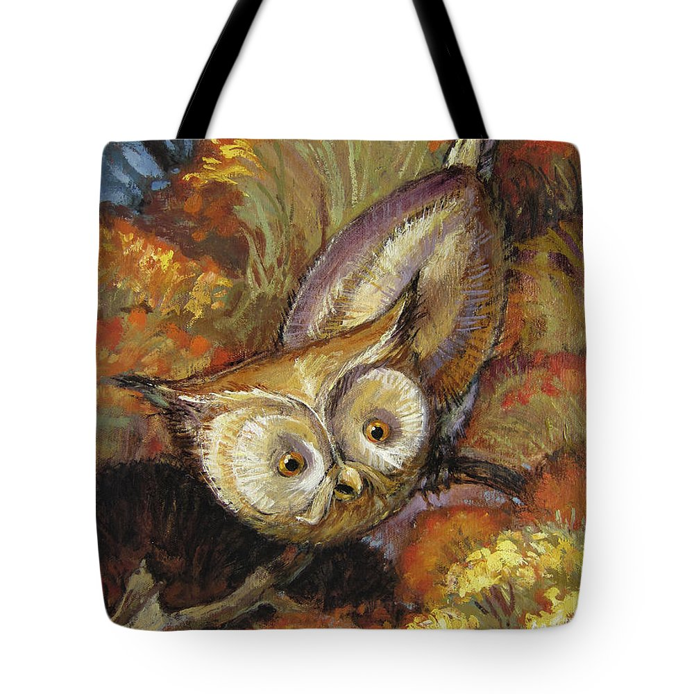 Autumn Tote Bag featuring the painting Autumn Owl by Randy Wollenmann
