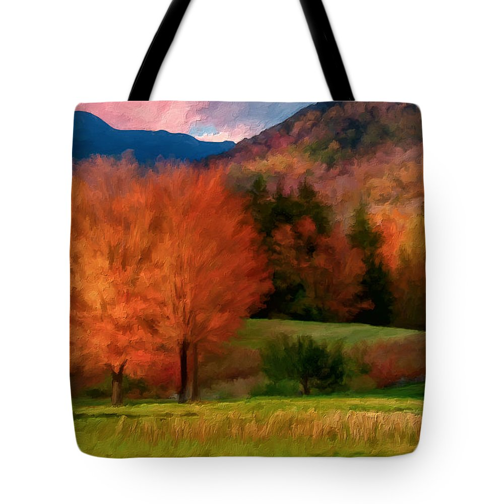 Fall Colors Tote Bag featuring the painting Autumn Pasture by Michael Pickett